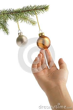 Free Christmas Tree, Hand And Balls Stock Photos - 3399463