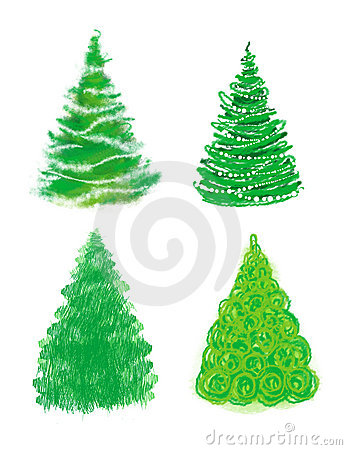 Christmas tree hand drawn set