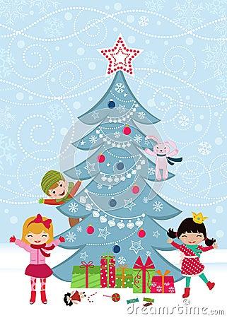 Christmas tree and happy kids
