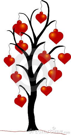 Christmas Tree with Heart Ornaments