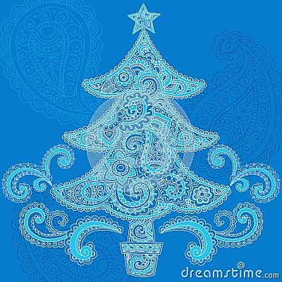 Christmas Tree Henna Paisley Doodle Design