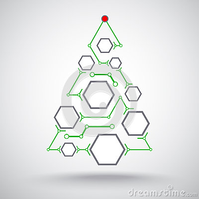 Christmas tree hexagonal cells