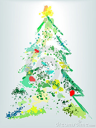 Christmas tree holiday grunge paint splatter