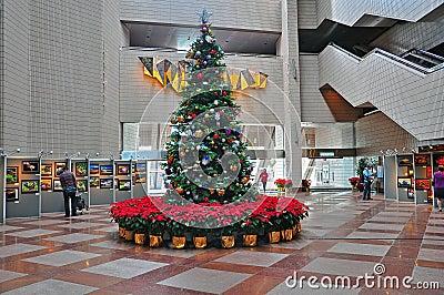 Christmas tree at hong kong cultural centre Editorial Image