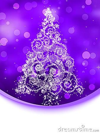 Christmas tree illustration on violet bokeh. EPS 8