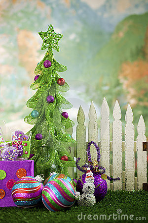 Free Christmas Tree In Front Of Picket Fence Stock Photos - 17281973