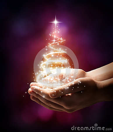 Free Christmas Tree In Your Hand - Red Stock Image - 34644841