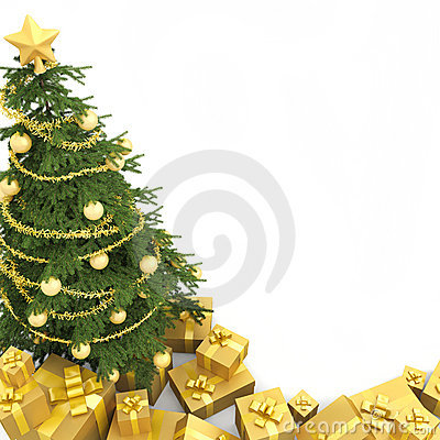 Christmas tree isoletd seen from