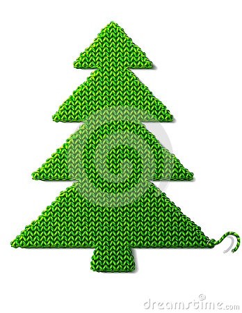 Christmas tree of knitted fabric isolated on white