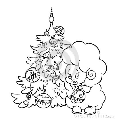 Christmas tree and lamb coloring page