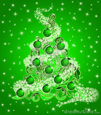 Christmas Tree Leaf Swirls Sparkles and Ornaments