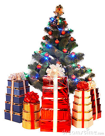 Christmas tree with light and group gift box.