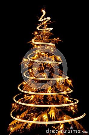 Christmas tree with light spiral drawn around it
