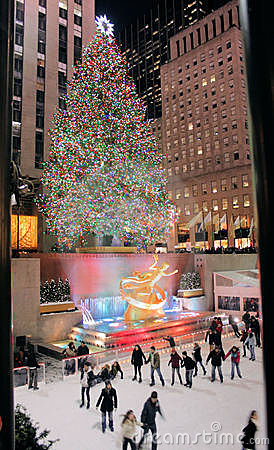 Christmas tree lighting celebration at Rockefeller Editorial Stock Image