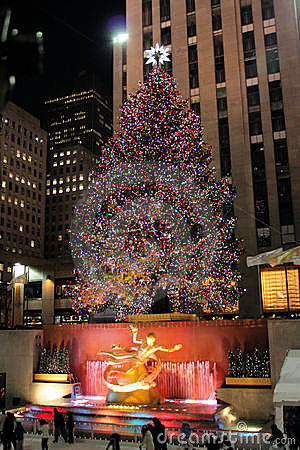 Christmas tree lighting celebration at Rockefeller Editorial Image