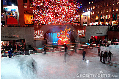 Christmas tree lighting celebration at Rockefeller Center Editorial Stock Photo