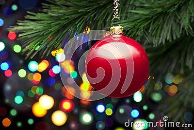 Christmas Tree Lights And Ornament Stock Photo