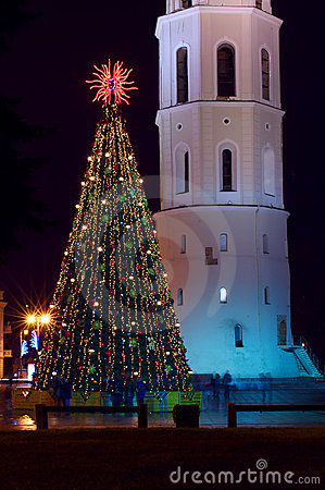 Christmas tree with lights in Vilnius Lithuania