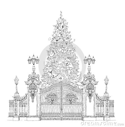 Christmas Tree In London Sketch Kidu0026#39;s Dreams Stock Illustration - Image 50334062