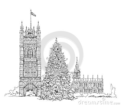 Christmas Tree In London Sketch Kidu0026#39;s Dreams Stock Illustration - Image 50334960