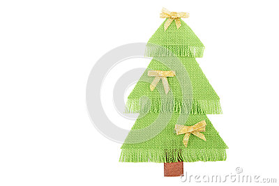 Christmas tree made ​​of green fabric.