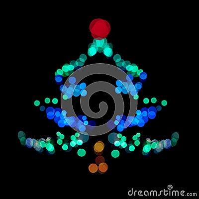 Christmas tree made of bokeh lights