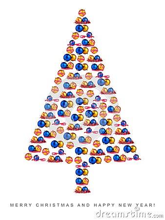 Christmas tree made of Christmas decorations