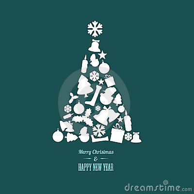 Free Christmas Tree Made From Various Shapes Stock Image - 22333501