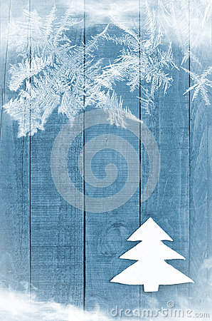 Free Christmas Tree Made From White Felt On Wooden, Blue Background. Snow Flaks Image. Christmas Tree Ornament, Craft Stock Photo - 60763070