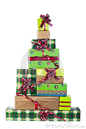 christmas tree made of gift boxes royalty free stock