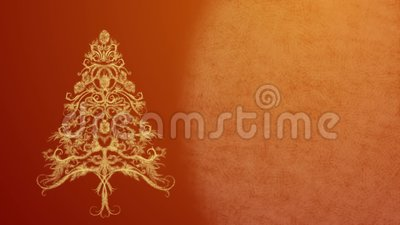 Christmas Tree made from ice pattern in festive lights on a dark orange background stock video