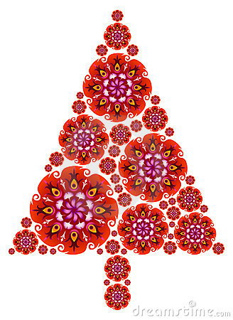 Christmas Tree made of Mandalas in Red