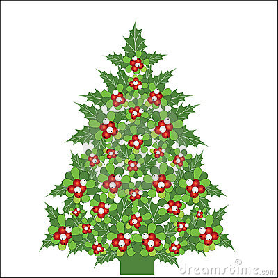 Christmas tree made of Mistletoe and holly