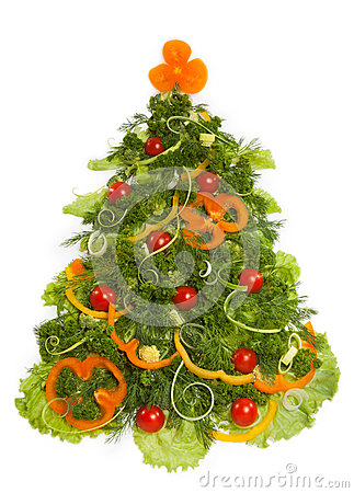 Free Christmas Tree Made Of Different Vegetarian Food Stock Photos - 35593223