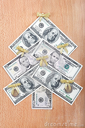 Christmas tree made out of American dollars.