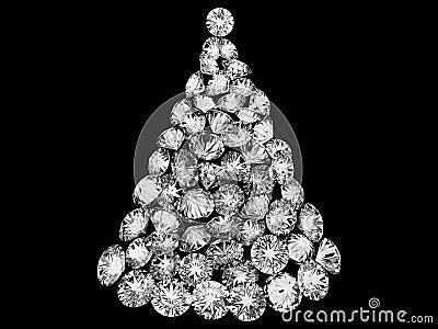 Christmas tree made up of diamonds