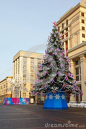 Christmas tree,  Manege Square, Moscow