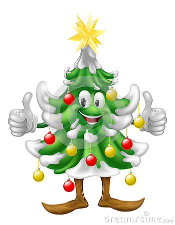 Christmas tree mascot doing thumbs up