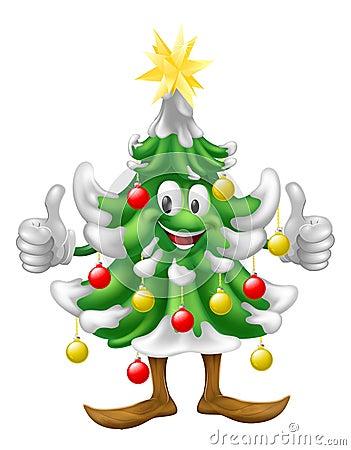 Christmas tree mascot doing thumbs up