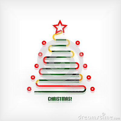Christmas tree modern minimal line art background