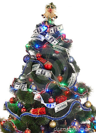 Christmas tree with money dollar garland.