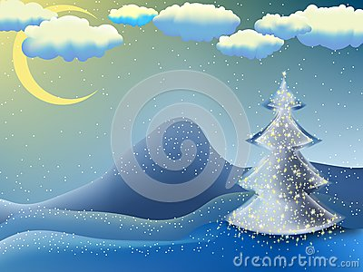 Christmas-tree in a moon night. EPS 8