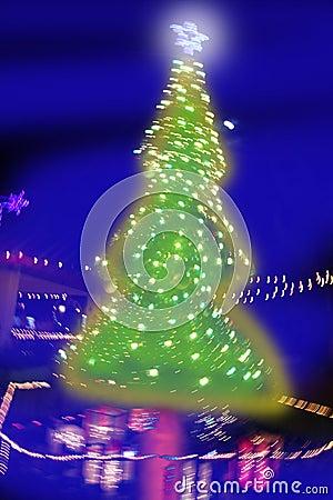 Christmas tree night blurred lighting