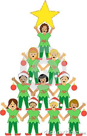 Free Christmas Tree Of Children Royalty Free Stock Photos - 2829718