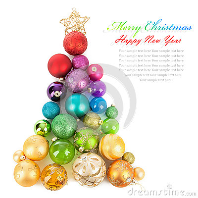 Free Christmas Tree Of Colored Balls Royalty Free Stock Images - 33714289