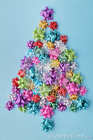 Free Christmas Tree Of Colorful Bows Royalty Free Stock Images - 77647169