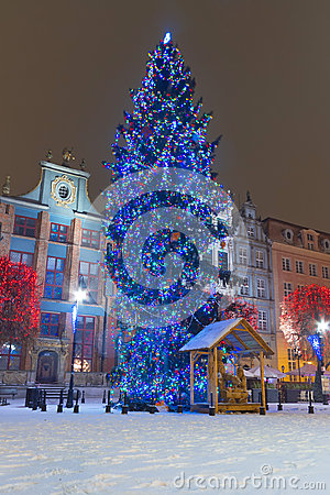 Christmas tree on the old town of Gdansk