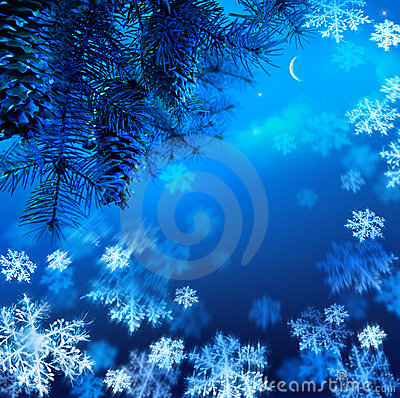 Free Christmas Tree On A Blue Night Sky  Background Royalty Free Stock Photography - 21946117