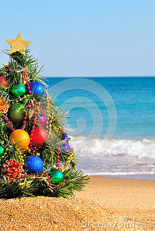 Free Christmas Tree On Sand In The Beach Royalty Free Stock Photos - 27952518