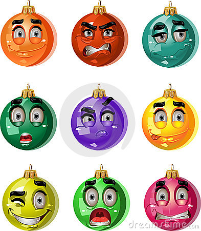 Christmas tree ornaments balls - smiles